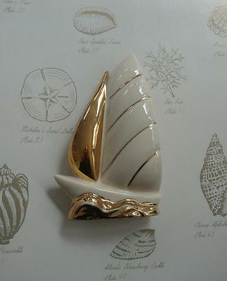 "Sailboat Wall Pocket Cream W/gold Acents ~ 5 3/4"" 1940's Vintage"