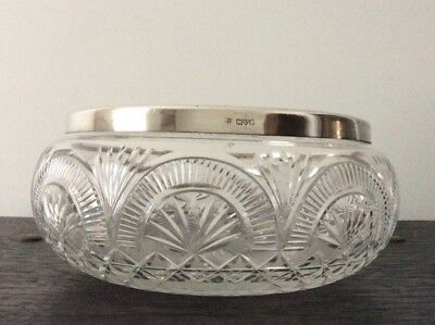 Antique Sterling Silver and Crystal Glass Salad Bowl / Centrepiece / Hallmarked