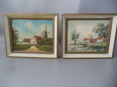 ANTIQUE VTG HOLLAND LANDSCAPE OIL PAINTING on WOOD PICTURE FRAME PAIR SIGNED