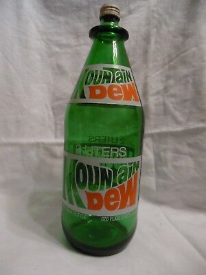 Vintage 2 Liter Glass Mountain Dew Bottle w/ Cap 1970's EXCELLENT-- Hard to find