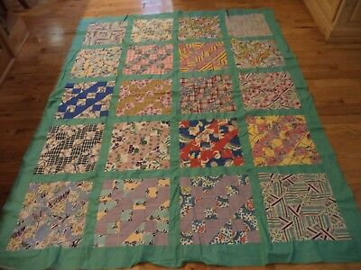 """Vintage Sawtooth? Quilt Top 68"""" x 60""""  Colorful Old Cotton Fabric"""