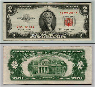 1953B $2 Dollar Bill Old Us Note Legal Tender Paper Money Currency Red Seal Z202