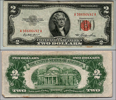 1953 $2 Dollar Bill Old Us Note Legal Tender Paper Money Currency Red Seal Q609