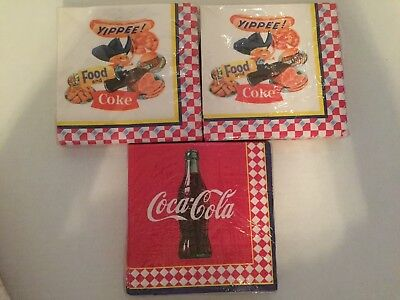 Lot Of 3 Hallmark 20 Pack Coca Cola Coke Yippee Cowboy Red Picnic Lunch Napkins