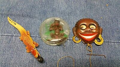 Vintage Lot (3) Black Americana - Googly Eye Pin- Alligator /pencil- African Toy