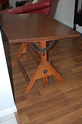 VIntage Drafting Table wood and metal