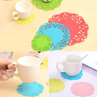 BID Random Color Round Drink Coasters Lace Stain Resistant Placemat