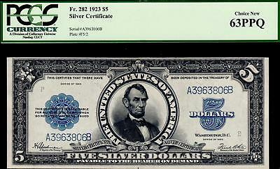 Lincoln Porthole Pmg 63 Ppq 1923 $5 Silver Certificate Five Dollar F282 3350C