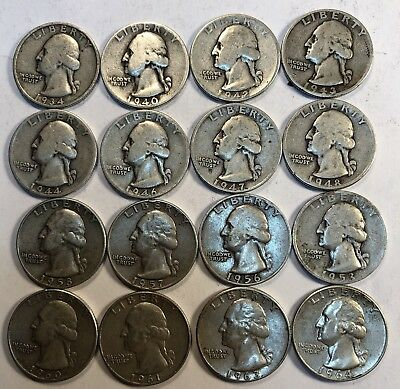 16 WASHINGTON QUARTERS ALL DIFFERENT YEARS 1934-1964 90% Silver P AND D bullion