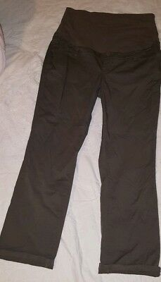 Thyme Size Medium Maternity Cargo Pull On Pants Full Belly Band