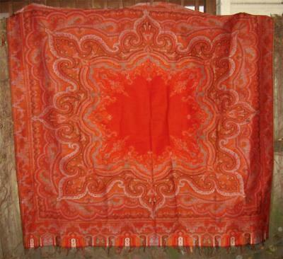 "antique 19C Victorian WOOL PAISLEY SHAWL SCARF Table Cover RED CENTER 70""square"