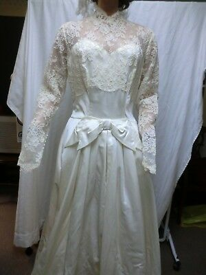 vtg 1950s satin & lace wedding gown & veil never worn