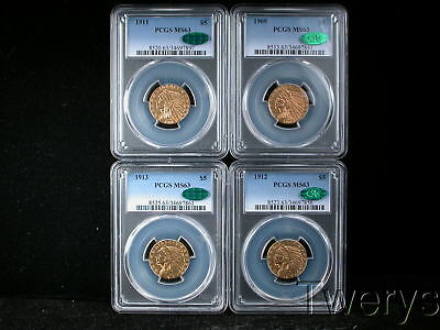 4 Piece Lot 1909 1911 1912 1913 Indian Head Gold $5 Half Eagles Pcgs Ms63 Cac