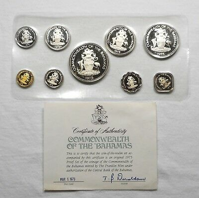 1975 Bahamas 9 Coin Silver Proof Set With COA