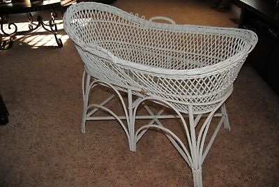 Vintage White Wicker Bassinet with Stand LOCAL PICK UP CANTON MICHIGAN
