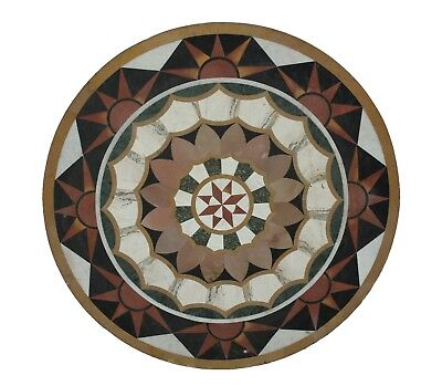 """Indian 36"""" Handmade Unique Multi Stone Inlay Floral Marble Table Top US4MTT"""