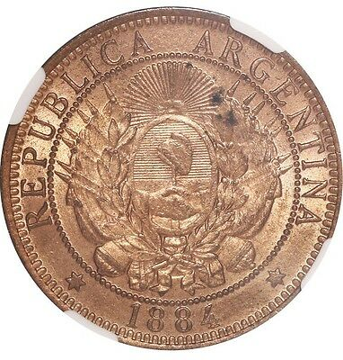 Agentina, copper 2 centavos, 1884, 4 tilted left, encapsulated NGC MS 64 RB