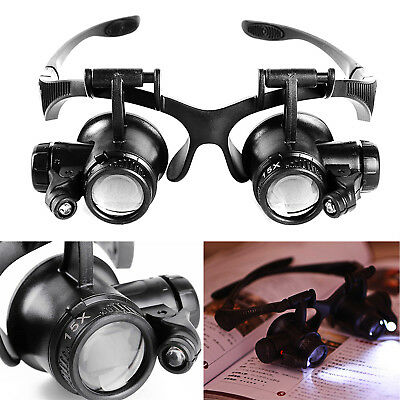 4 Lens Magnifier Magnifying Eye Glass Loupe Jeweler Watch Repair LED Light HIGH