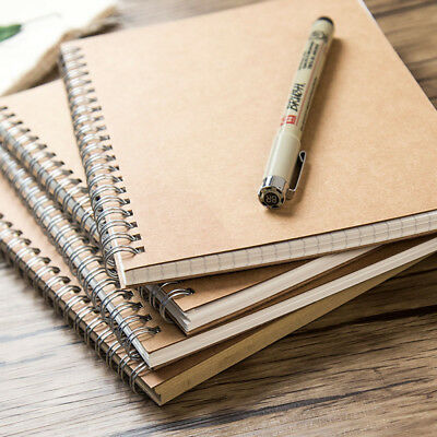 16K/32K Vintage Spiral Coil Kraft Paper Cover Notebook Sketchbook Diary Journal