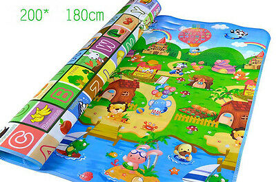 Kid Play Mat Floor Activity Rug HUGE 2mx1.8m Double Sides Alphabet Animals 284HC