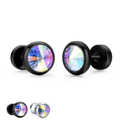 TT 8mm Surgical steel Round RainBow Clear CZ Fake Ear Plug Earrings (BE261) NEW
