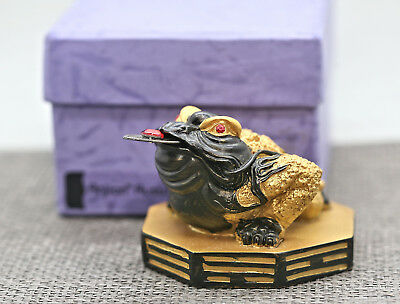 Vintage Chinese Feng Shui Three Legged Frog Statue New In Box