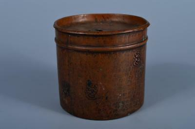 J7456:Japanese Old Copper jewel sculpture WASTE-WATER POT Kensui with a lid