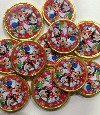 50x Disney Mickey Minnie Mouse & Donald Chocolate Christmas Gold Coins Treats BN