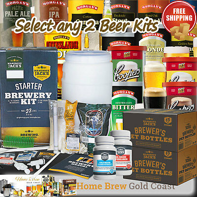 Mangrove Jack's STARTER BREWERY KIT PLUS [2] BEER CONCENTRATES & 30 PET BOTTLES