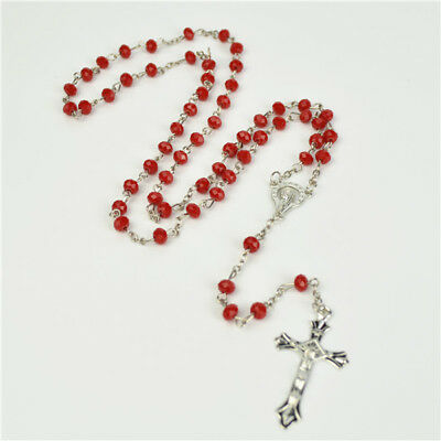 Red Acrylic Beads & silver Chain Religious Christian Rosary With Silve Cross