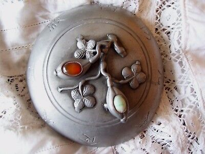 Antique Chinese Pewter Paktong Covered Rice Bowl Warmer-19thC Jade & Carnelian.