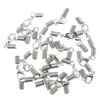 20Pcs Spring Clasp Cord End Crimp Caps with Lobster Clasp Jewelry Making