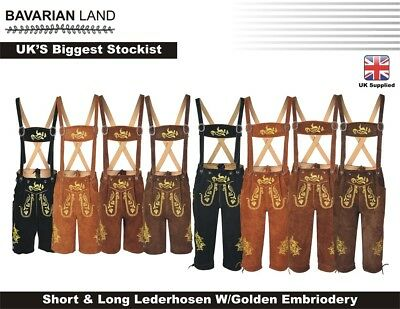 Men,s Long & Short LEDERHOSEN Real Suede Leather with Matching Suspenders