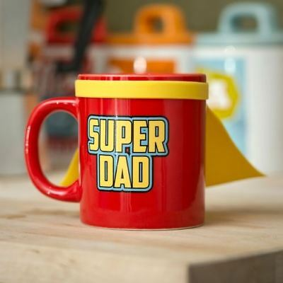 Super Dad Mug With Cape Ceramic Superhero Tea Coffe Cup