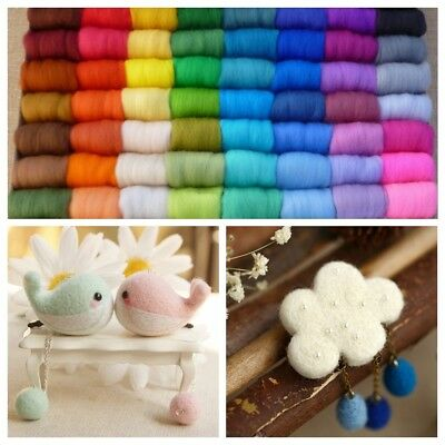 12Pcs 5g Hand Spinning Wool Fibre Roving For Needle Felting 100 Colors Random