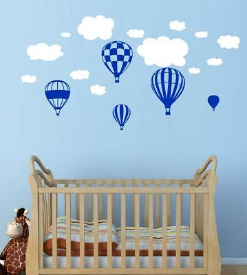 5 x Hot Air Balloons Wall Stickers with Clouds and sun Baby Nursery Decor