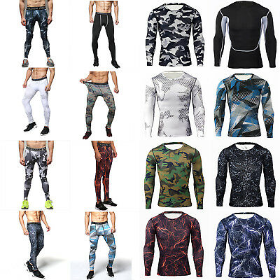 Men Gym Sports Base Layer Compression T-Shirt Pants Skin Tights Athletic Apparel