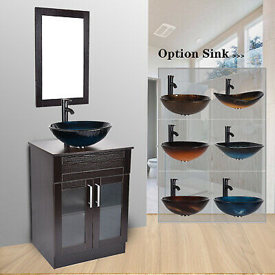 24 Bathroom Vanity Cabinet Single Top Vessel Sink Basin Faucet
