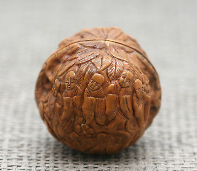 Unique Vintage Chinese Hand Carved Real Walnut With Excellent Detail