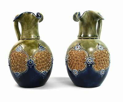 Early 20th C. Royal Doulton Jugs Ewers Maud Bowden Copper Lustre Pair c.1902-22