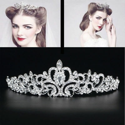 Pretty Wedding Bridal Princess Crystal Rhinestone Prom Hair Tiara Crown Headband