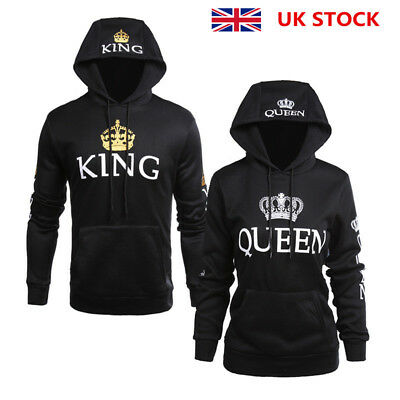 Womens Mens Lovers 'KING QUEEN' Sleeve Print Hoodies Sweatshirt Hooded Tops Coat