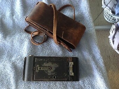 Antique Kodak folding camera in good order with original leather case