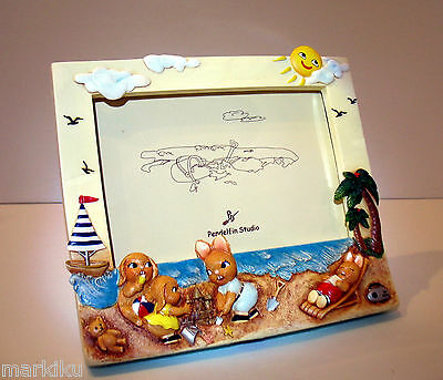 NEW Pendelfin Rectangular Landscape photo frame figurine beach sea scene w/ Box
