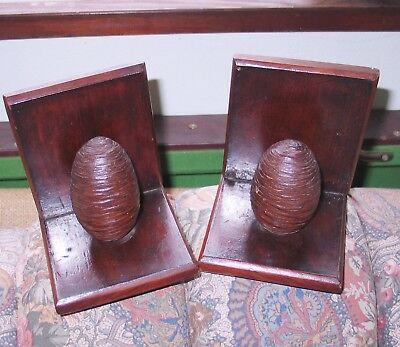 Antique Wooden Book Ends With Carved Pine Cones.