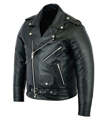 Mens Brando Vintage Motorcycle Biker Black Real Leather Motorbike Jacket