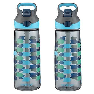 Contigo AUTOSPOUT Striker Kids Straw Water Bottle 20oz Chevron Arrows (2-Pack)