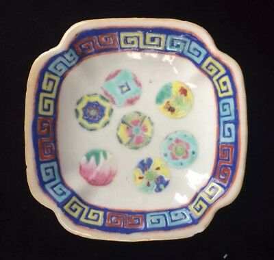 Antique Chinese Famille Rose Dish/High Footed