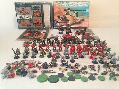 WARHAMMER huge lot  METAL + PLASTIC FIGURES ,VEHICLES ,SPARE PARTS + CODEX BOOK