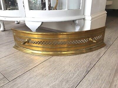 vintage antique small brass fireplace fender